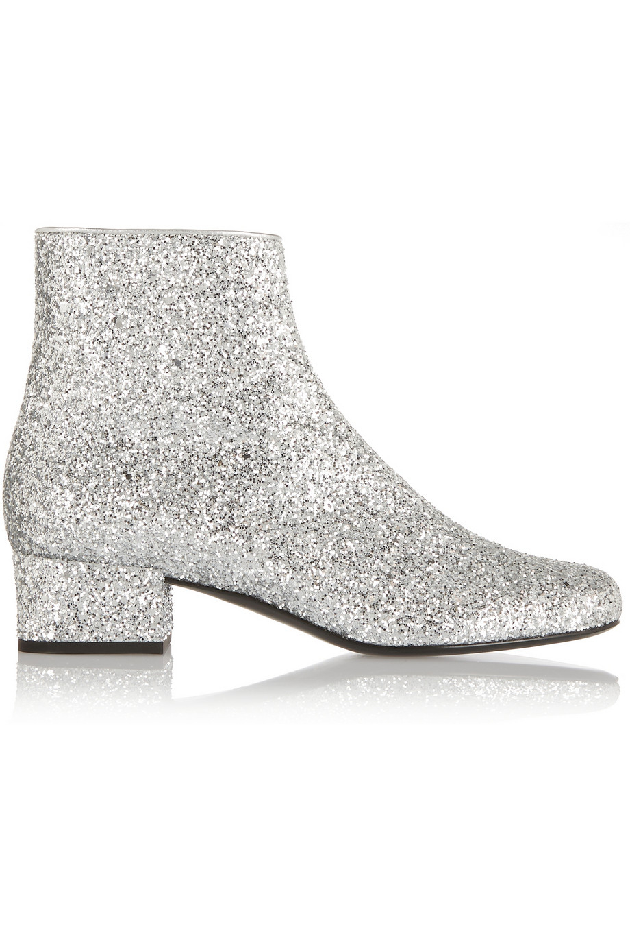 laurent glitter finished ankle boots in metallic lyst