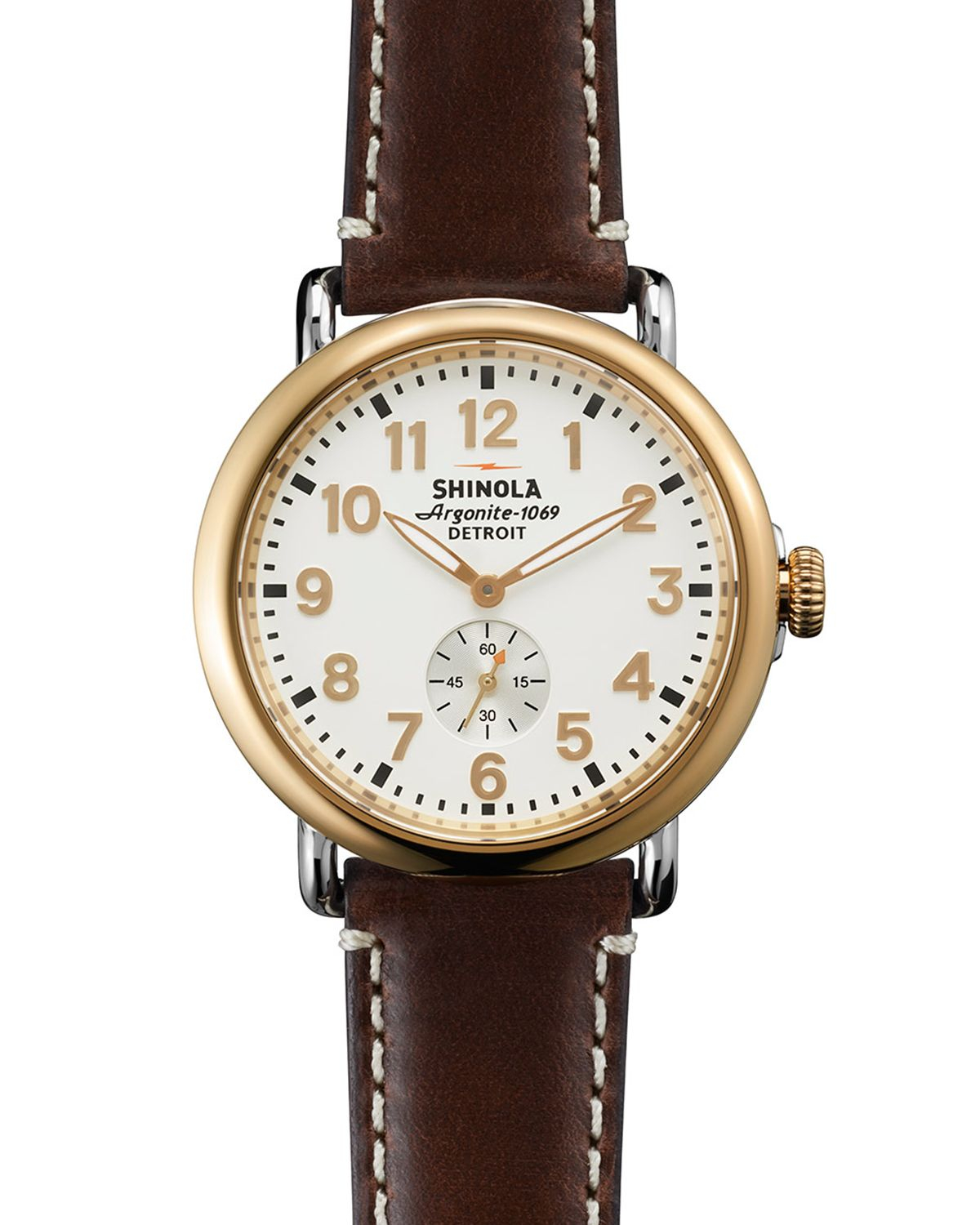 Shinola the runwell watch 41mm in brown for men brown gold lyst for Shinola watches