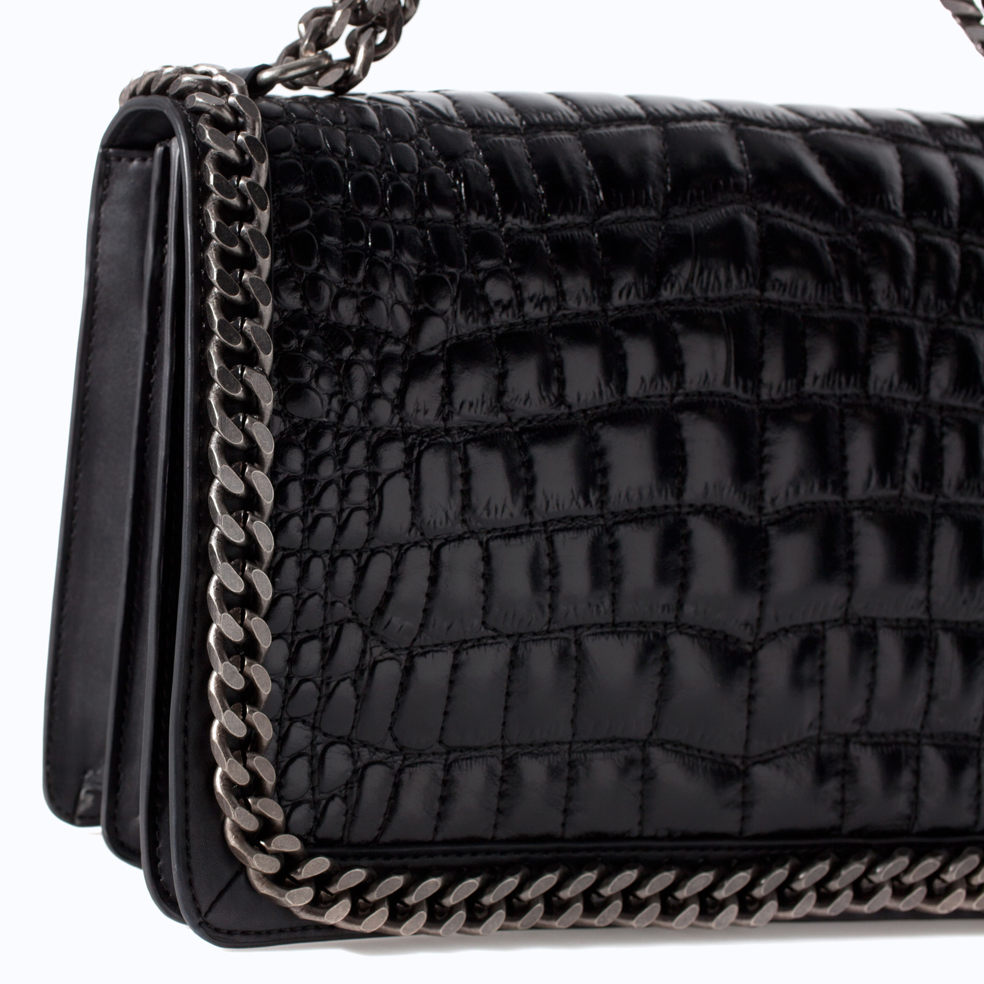 Monogram Small Croc Stamped Shoulder Bag White Ysl Y