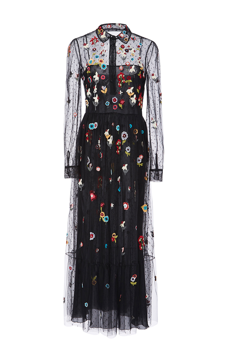 Lyst red valentino fancy flower embroidered point d