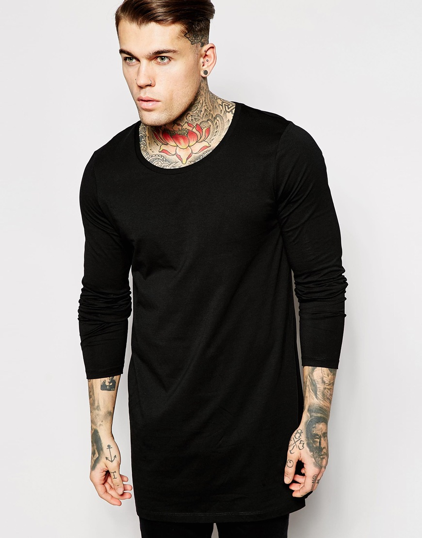 Asos super longline long sleeve t shirt with scoop neck in for Scoop neck long sleeve shirt