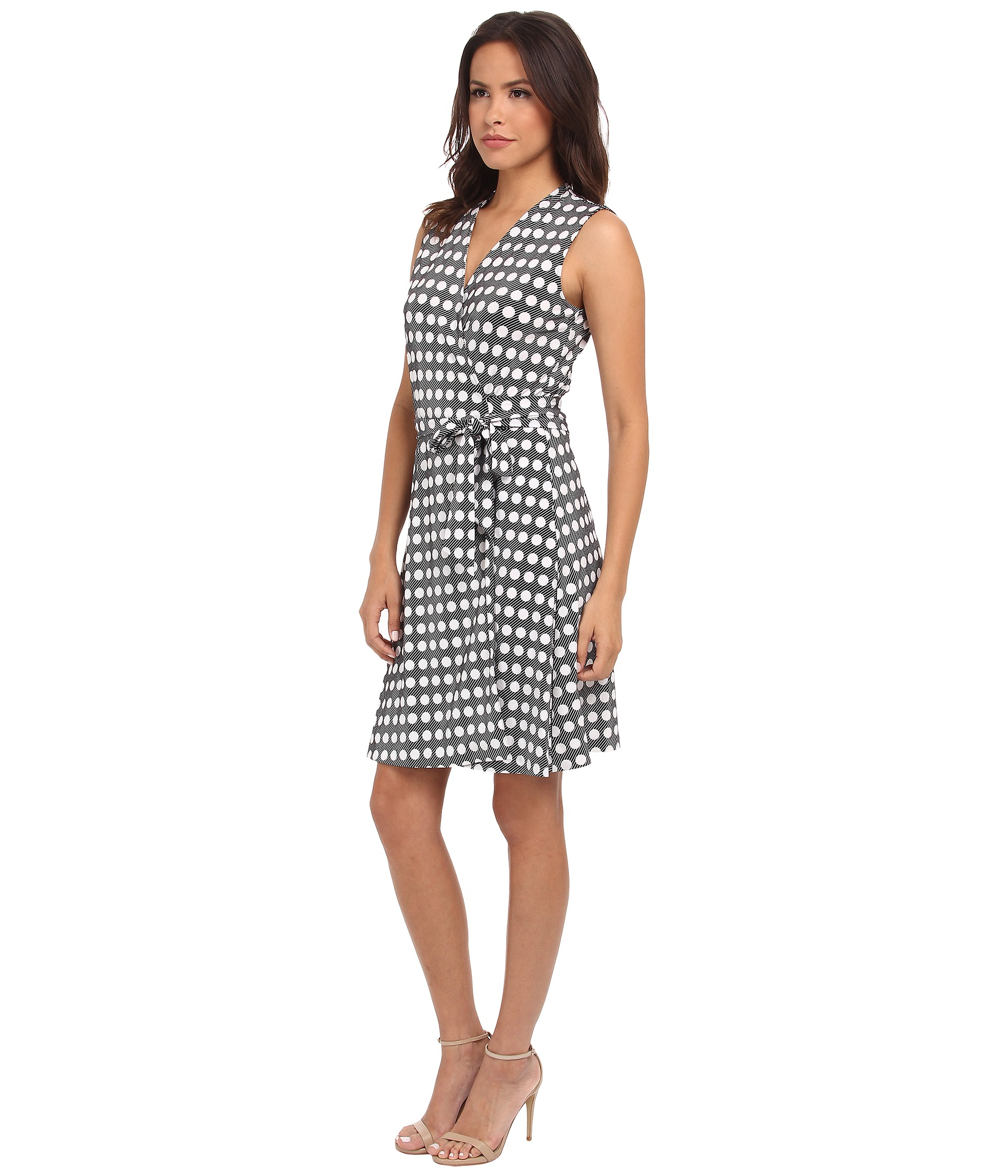 Lyst Vince Camuto Swinging Dots Belted Wrap Dress In White