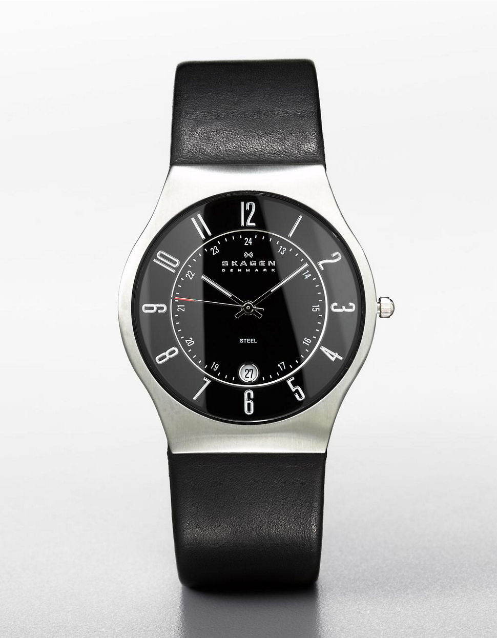 Skagen mens black dial watch with black leather strap in black for men lyst for Black leather strap men