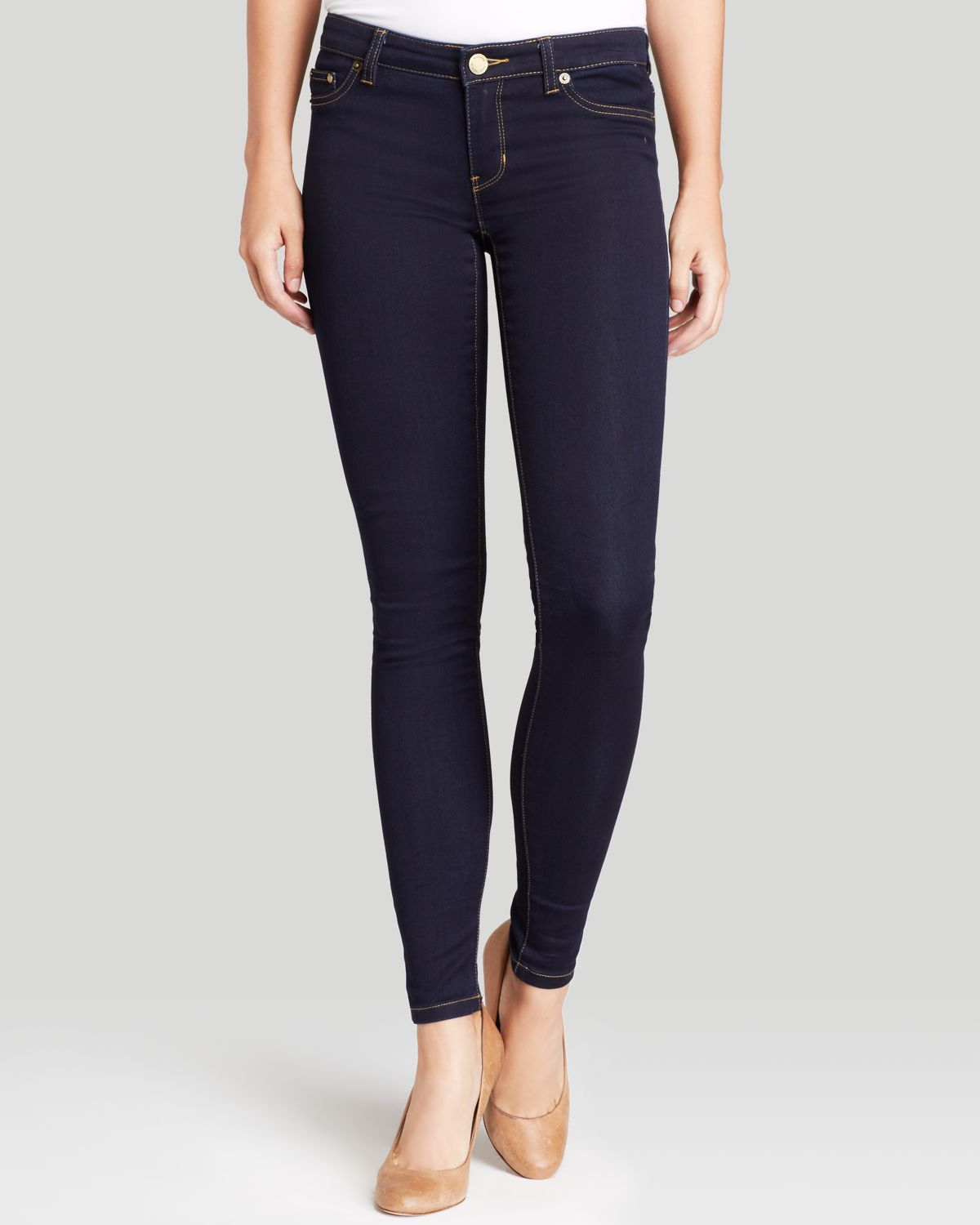 lyst michael michael kors skinny jeans in twilight in blue. Black Bedroom Furniture Sets. Home Design Ideas