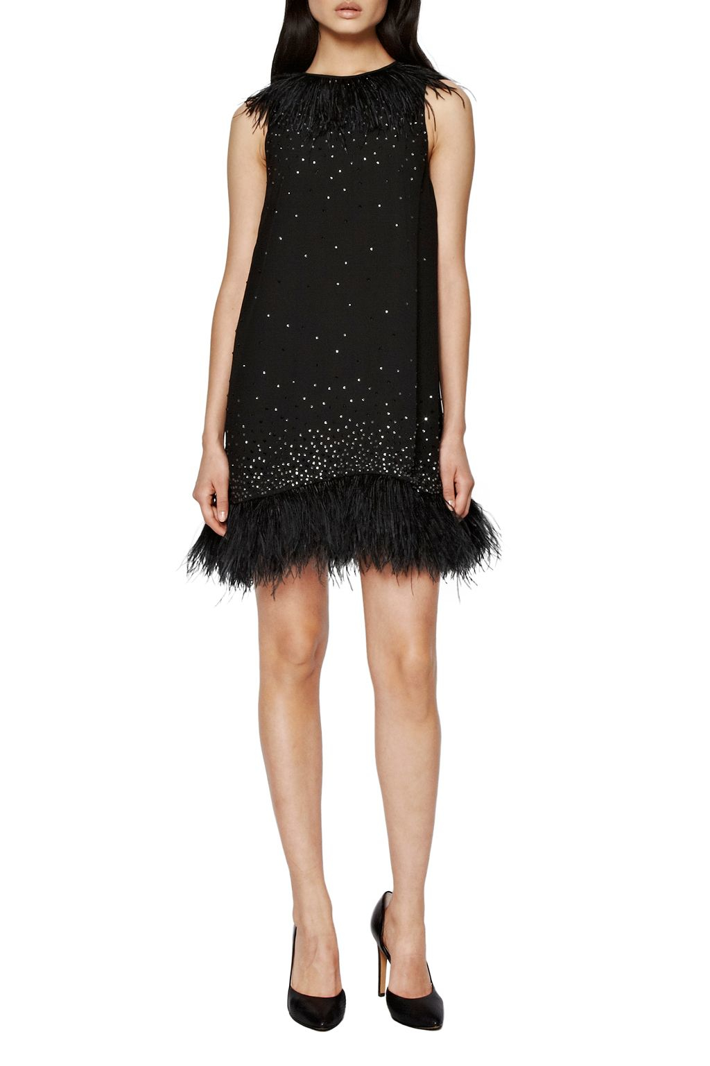 French Connection Arctic Spell Feather Dress In Black Lyst