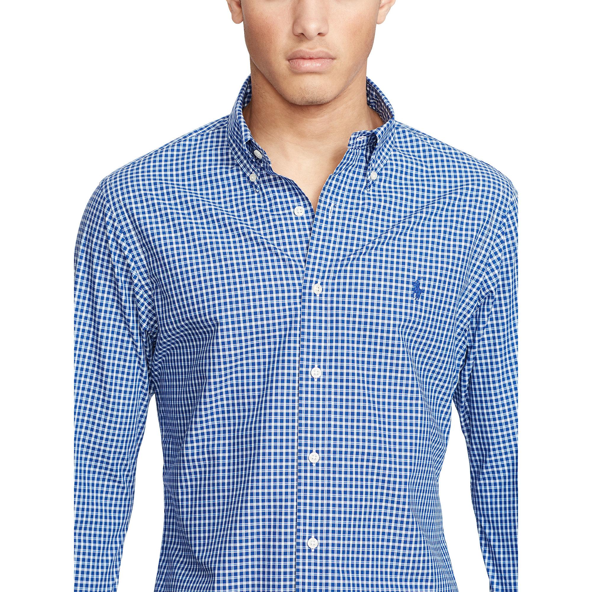 polo ralph lauren slim fit plaid poplin shirt in blue for. Black Bedroom Furniture Sets. Home Design Ideas