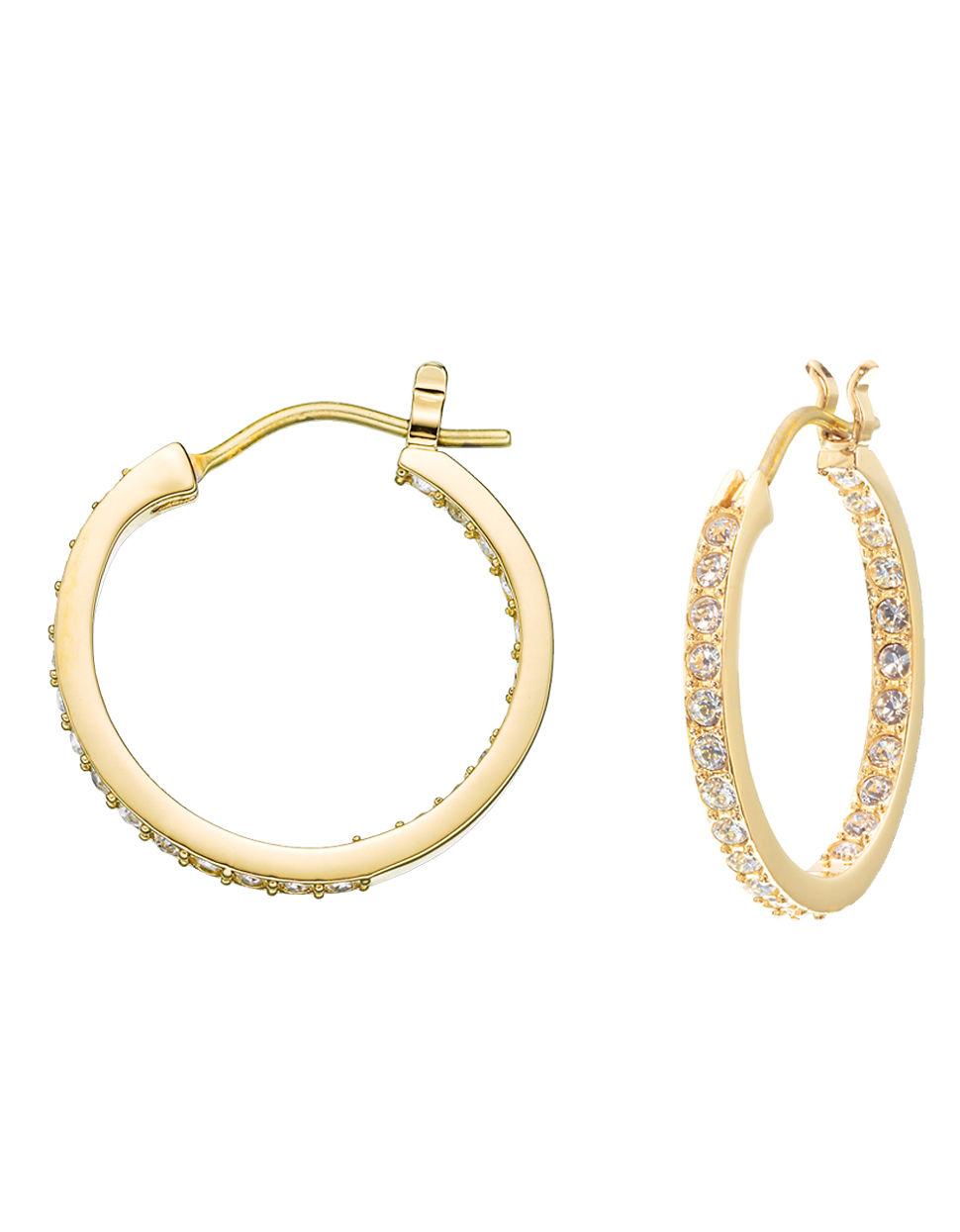 swarovski somerset gold plated hoop earrings in gold lyst