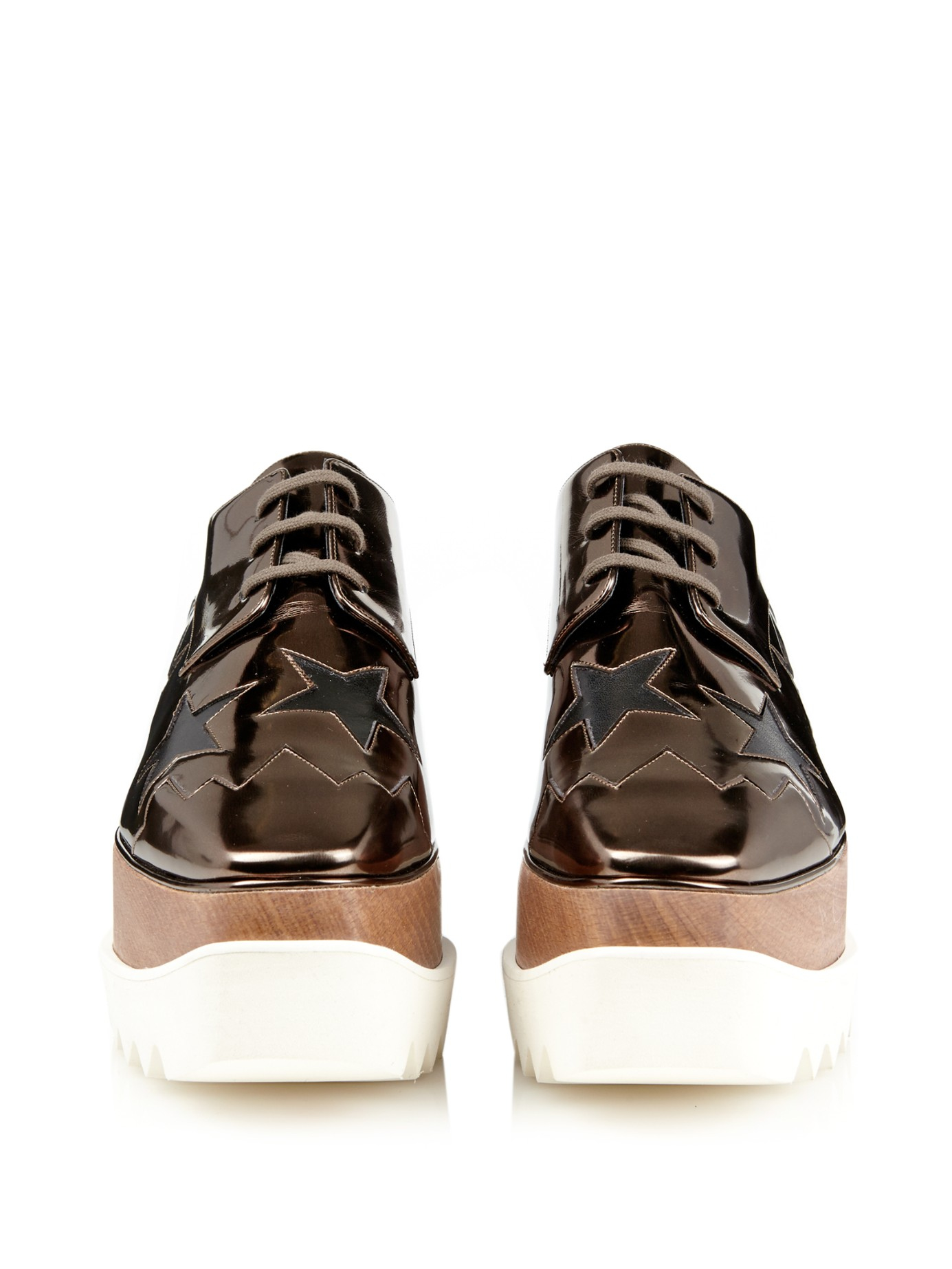 Stella mccartney Elyse Metallic Lace-Up Platform Shoes in Metallic ...