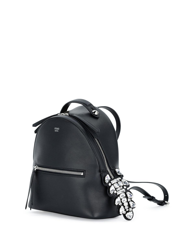 Lyst - Fendi Mini Crystal Croc-tail Backpack in Black 723474d47041b