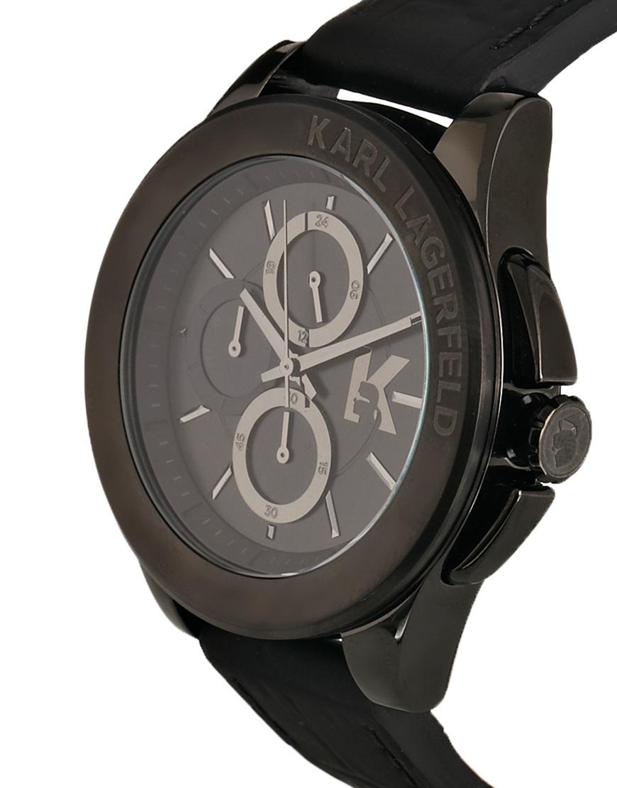 karl lagerfeld leather strap watch in black for men lyst gallery
