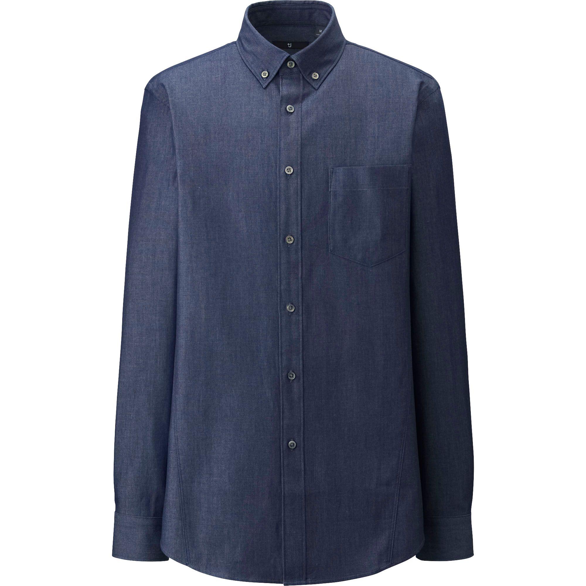 Uniqlo Men J Denim Slim Fit Long Sleeve Shirt In Blue