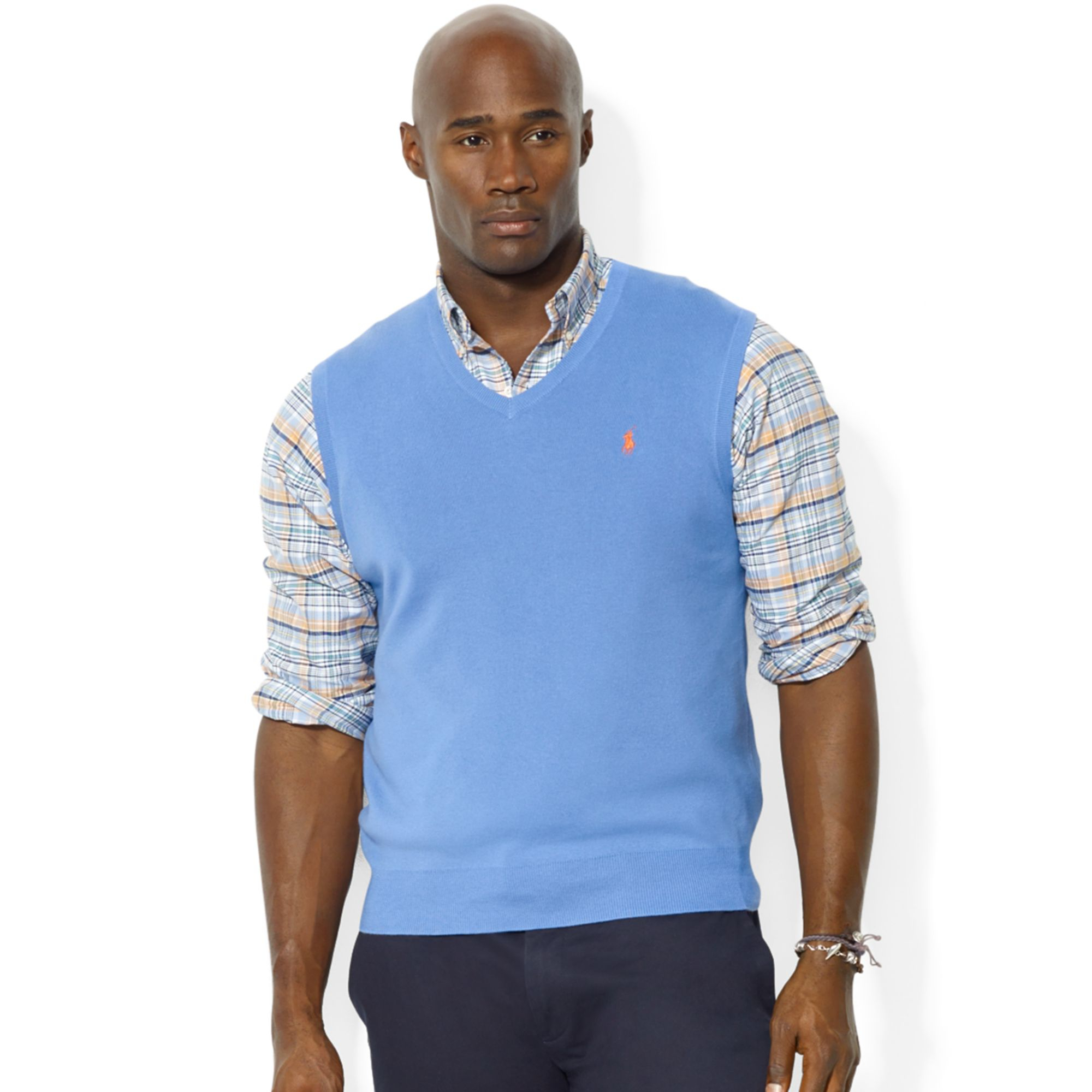 48e6a4f0 Ralph Lauren Blue Polo Big and Tall V Neck Pima Cotton Vest for men