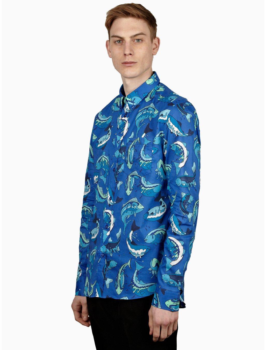 Kenzo mens blue fish print shirt in blue for men lyst for Fish print shirt