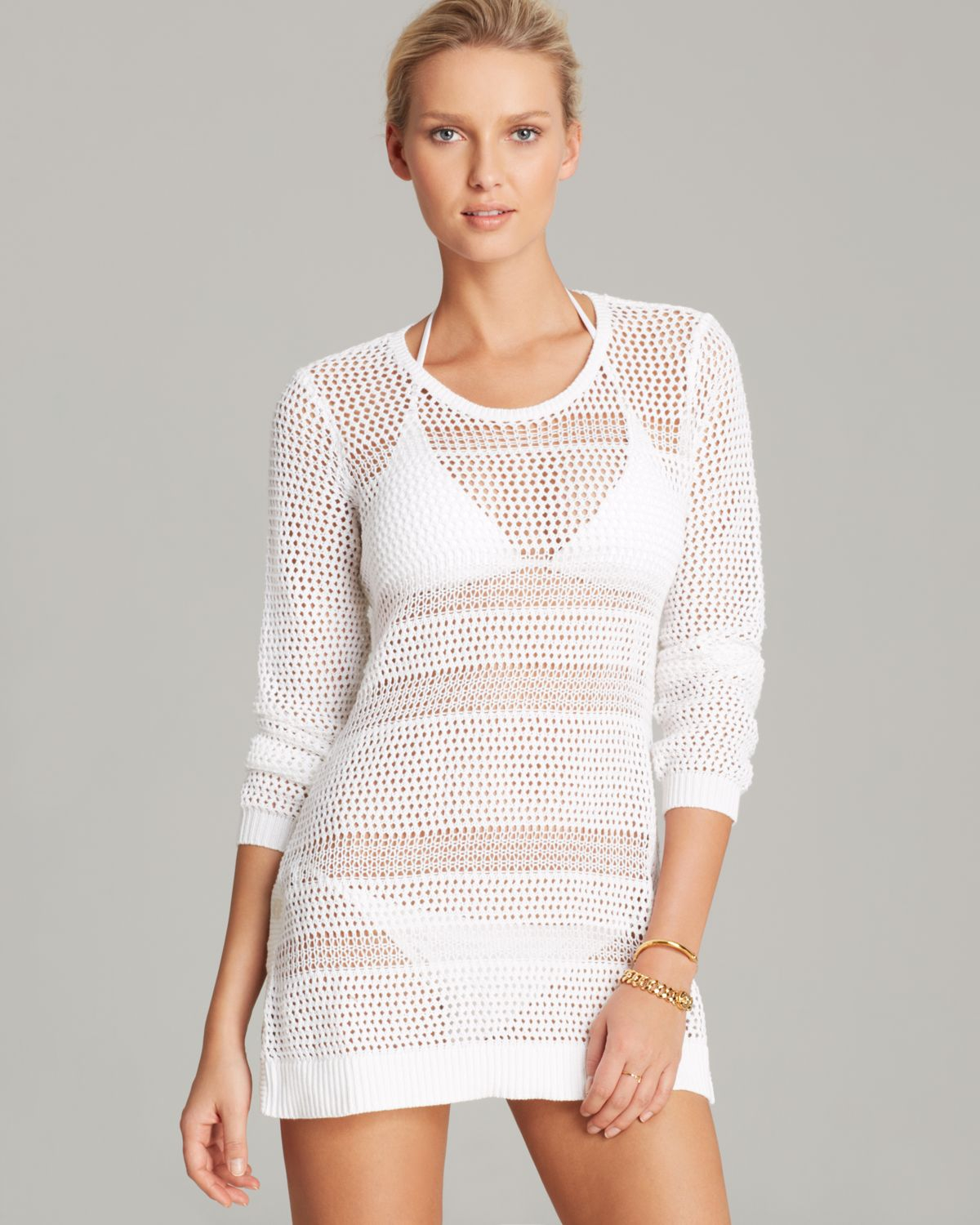 8b7cad86d62a0 Tommy Bahama Beach Sweater with Side Buttons Swim Cover Up in White ...