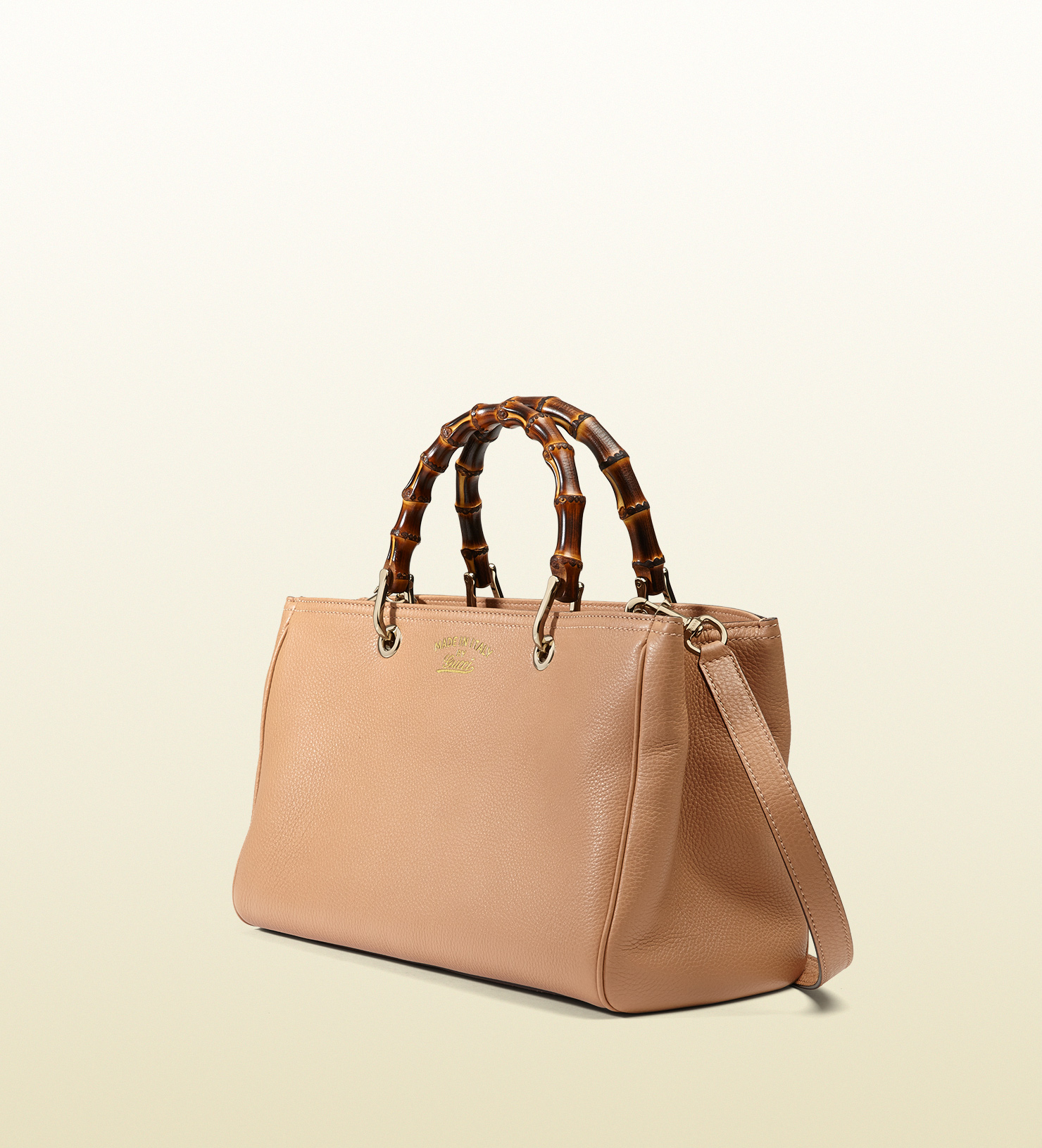 lyst gucci bamboo shopper leather tote in pink. Black Bedroom Furniture Sets. Home Design Ideas