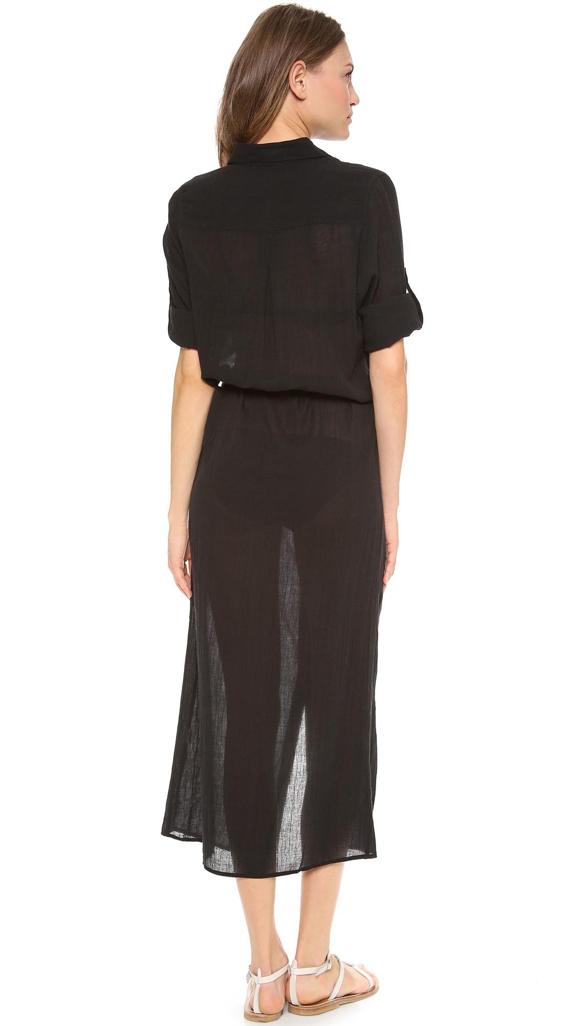 Thayer Shirt Dress Cover Up White Gauze In Black Lyst