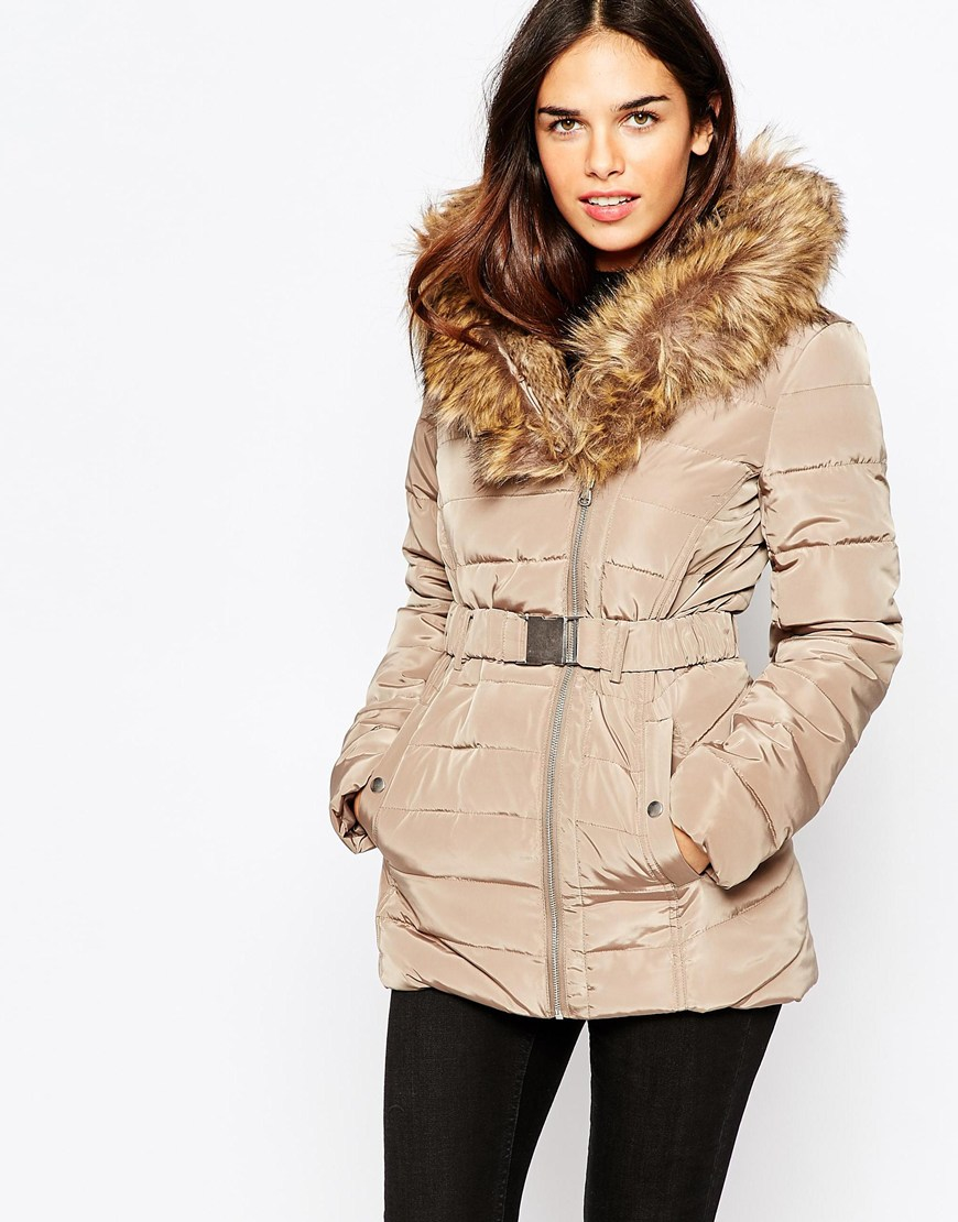 Warehouse Premium Padded Parka Jacket in Natural | Lyst