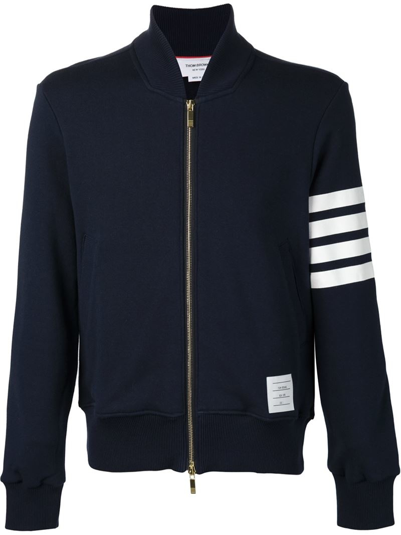 Thom Browne Jersey Bomber Jacket In Blue For Men Lyst