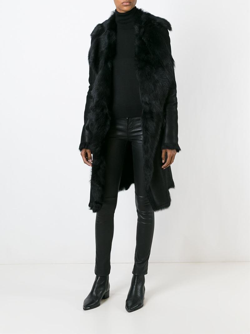Belstaff Shearling Coat in Black | Lyst