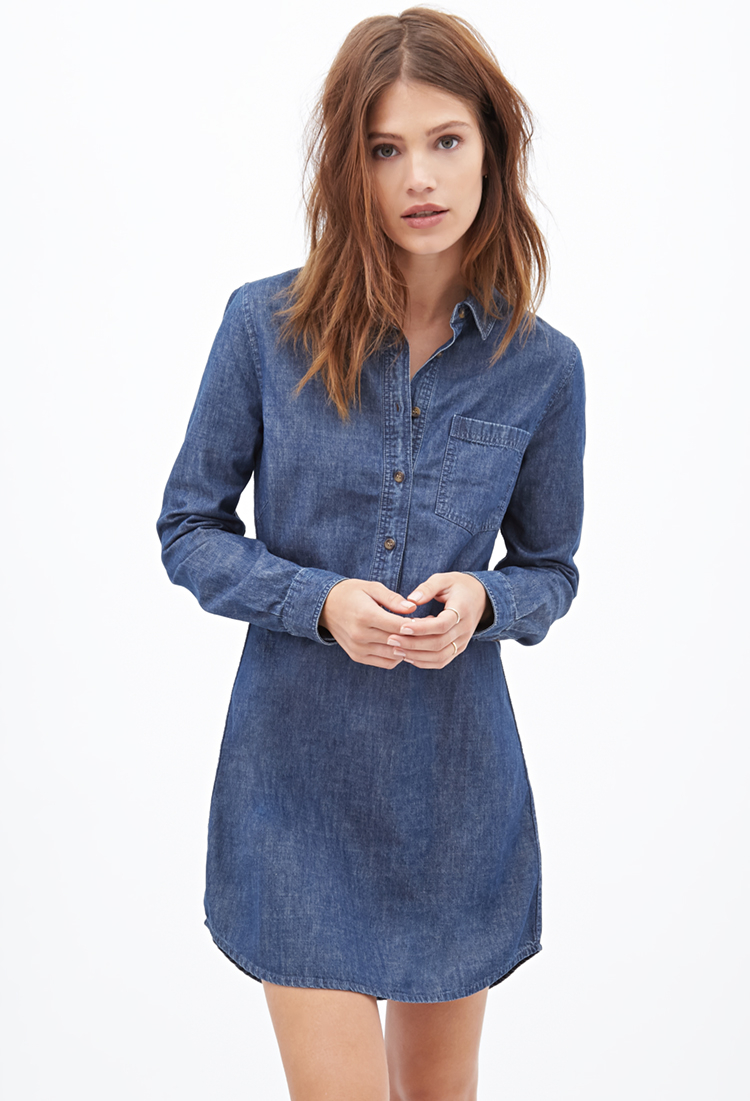 Forever 21 chambray shirt dress in blue lyst for Blue dress shirt outfit