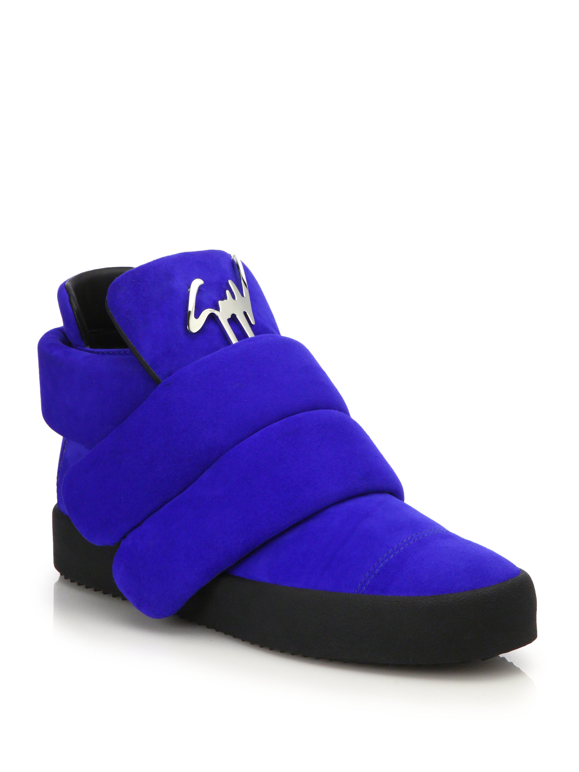 79ca1efe2cde Lyst - Giuseppe Zanotti Quilted Suede Mid-Top Sneakers in Blue for Men