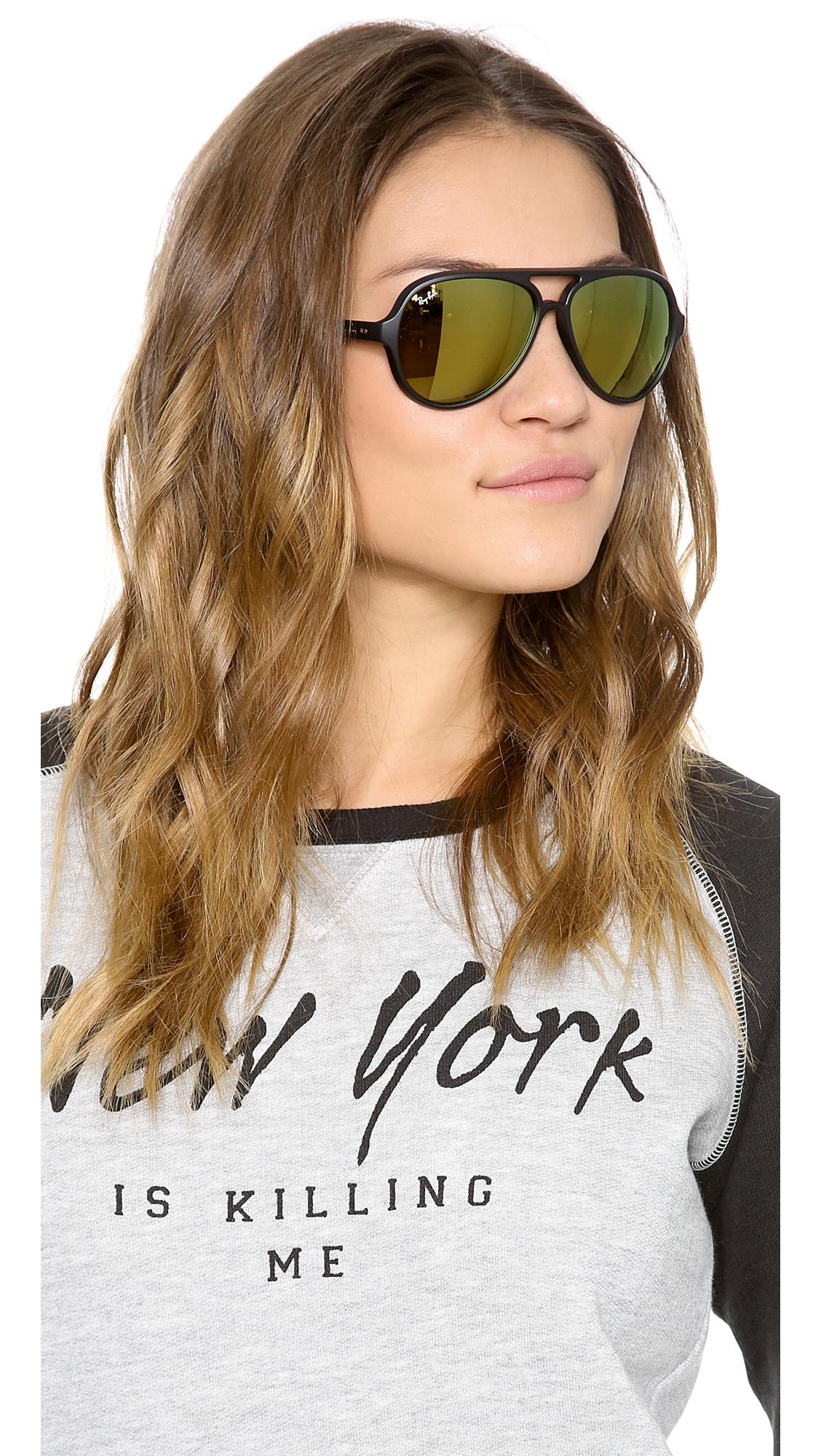 2a1c539006 ... ireland lyst ray ban matte mirrored cats 5000 sunglasses black green  ae277 38331