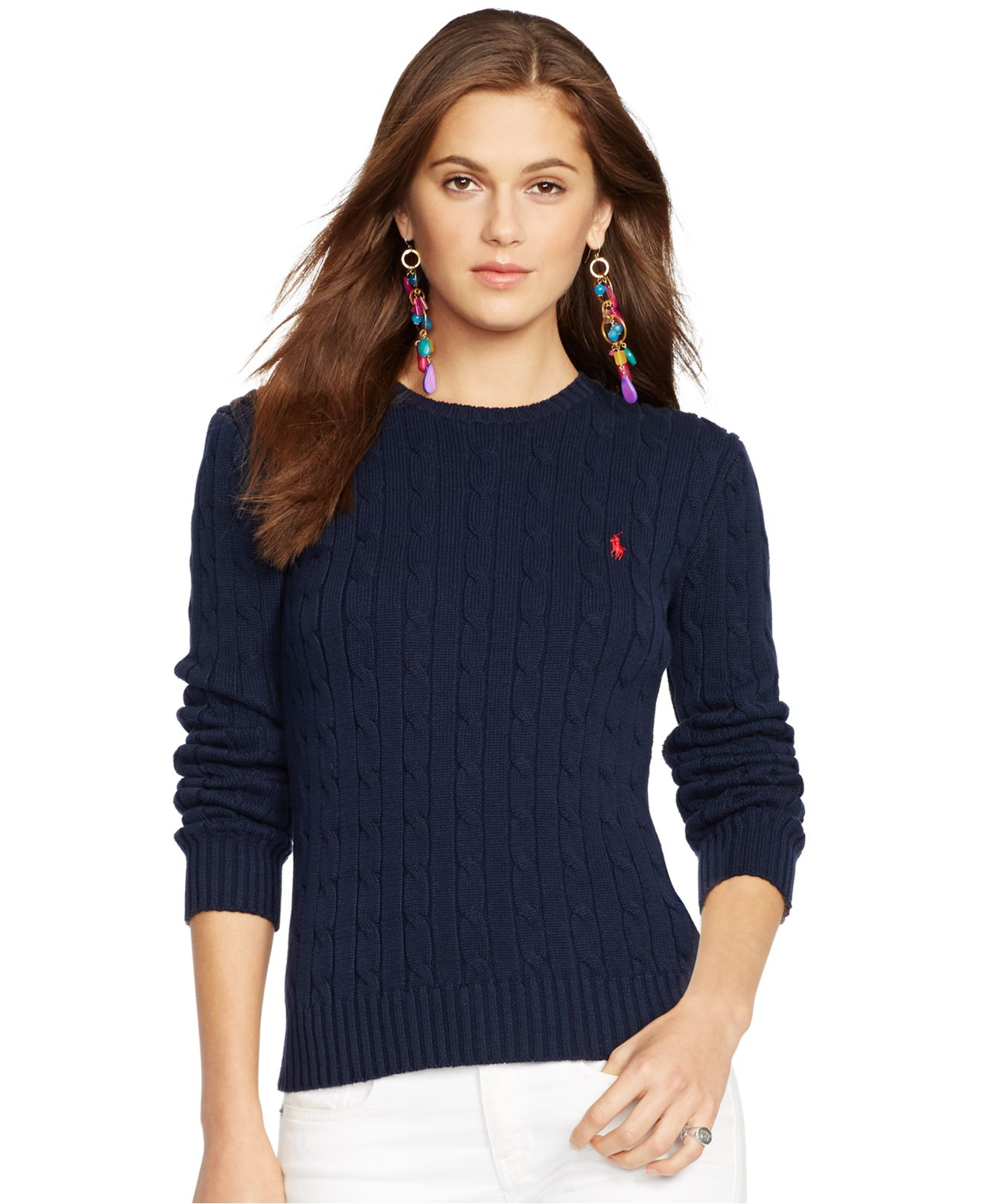 Polo ralph lauren Crew-Neck Cable-Knit Sweater in Blue | Lyst