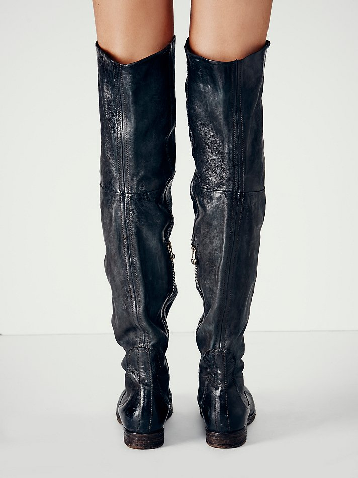 Free People Leather Ravyn Over The Knee Boot in Black