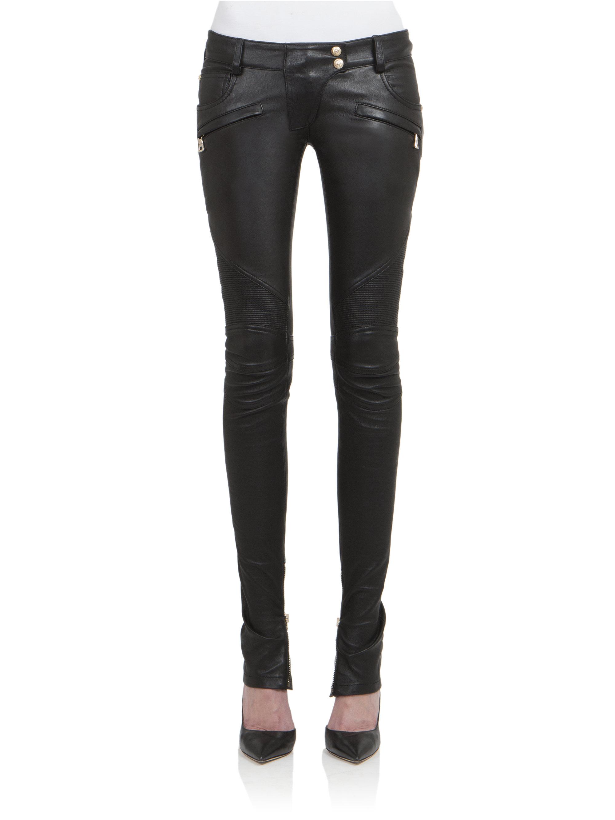 Balmain Leather Moto Pants In Black Lyst