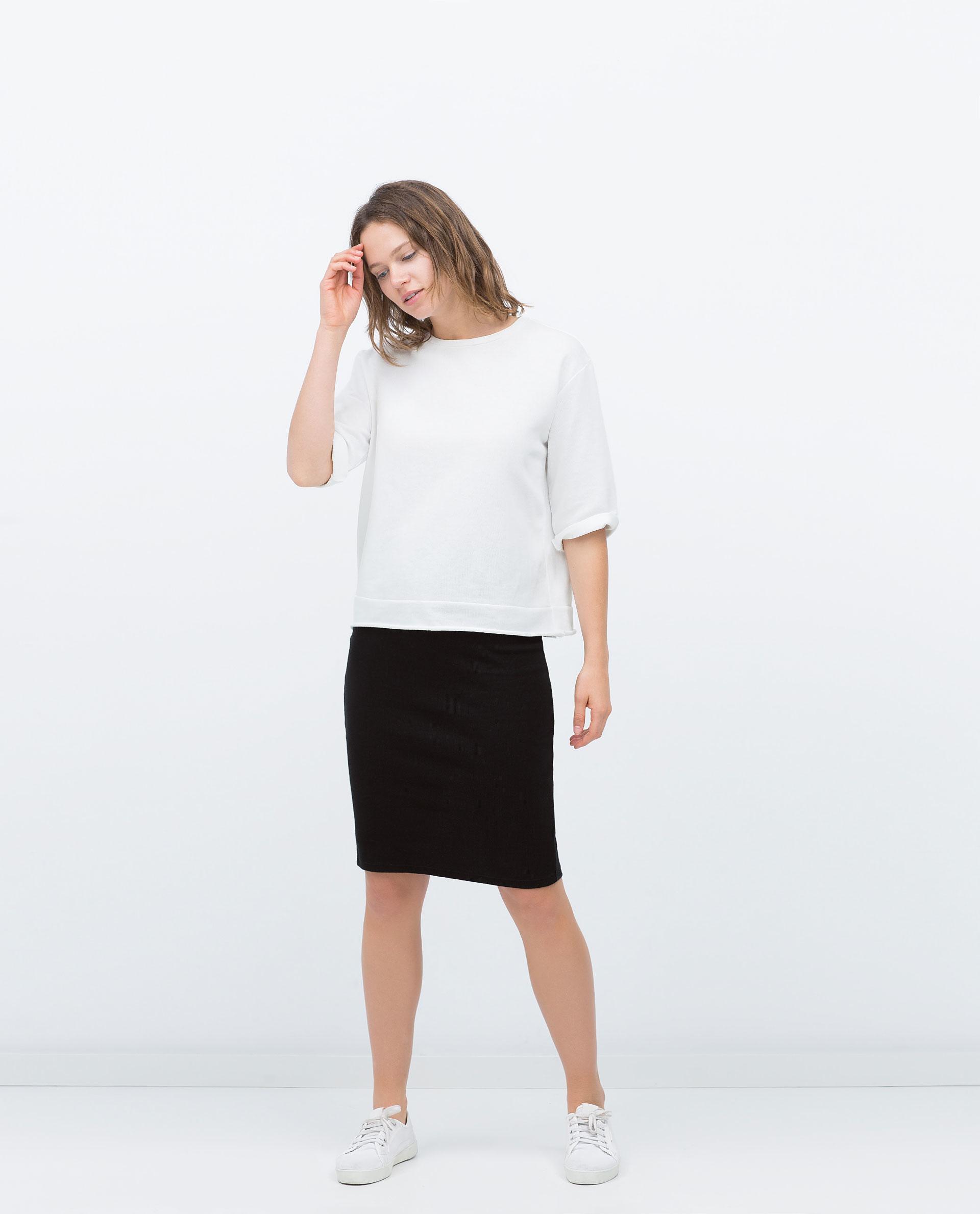 zara midi skirt in black lyst