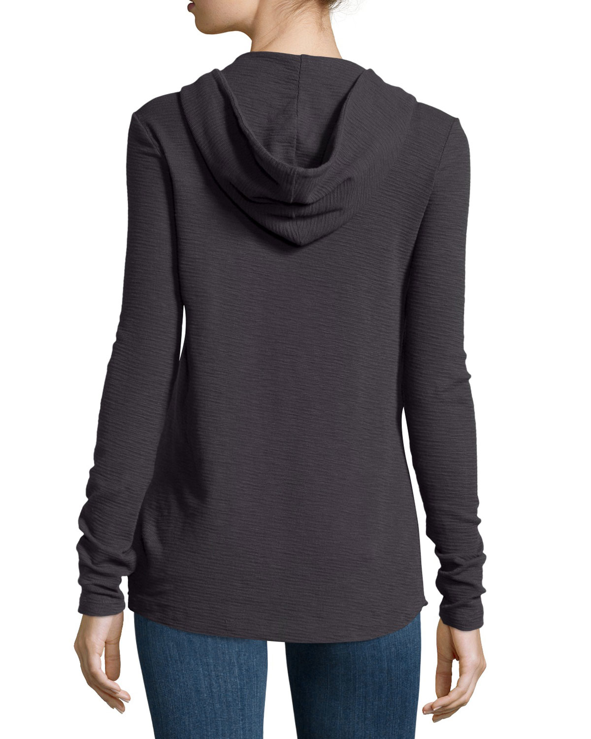 James perse thermal hooded henley in black lyst for James perse henley shirt