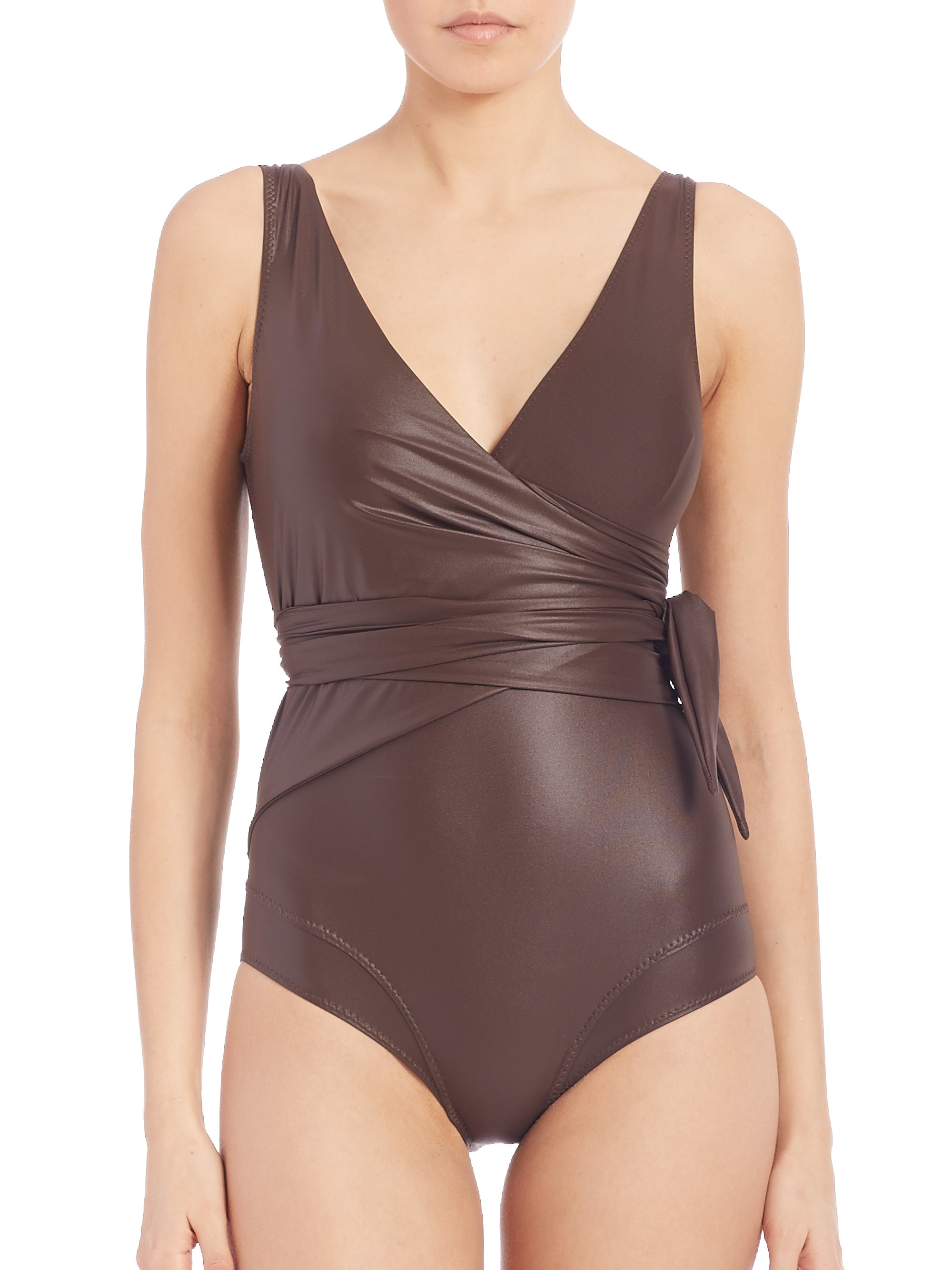 lisa marie fernandez one piece dree louise wrap maillot in brown lyst. Black Bedroom Furniture Sets. Home Design Ideas