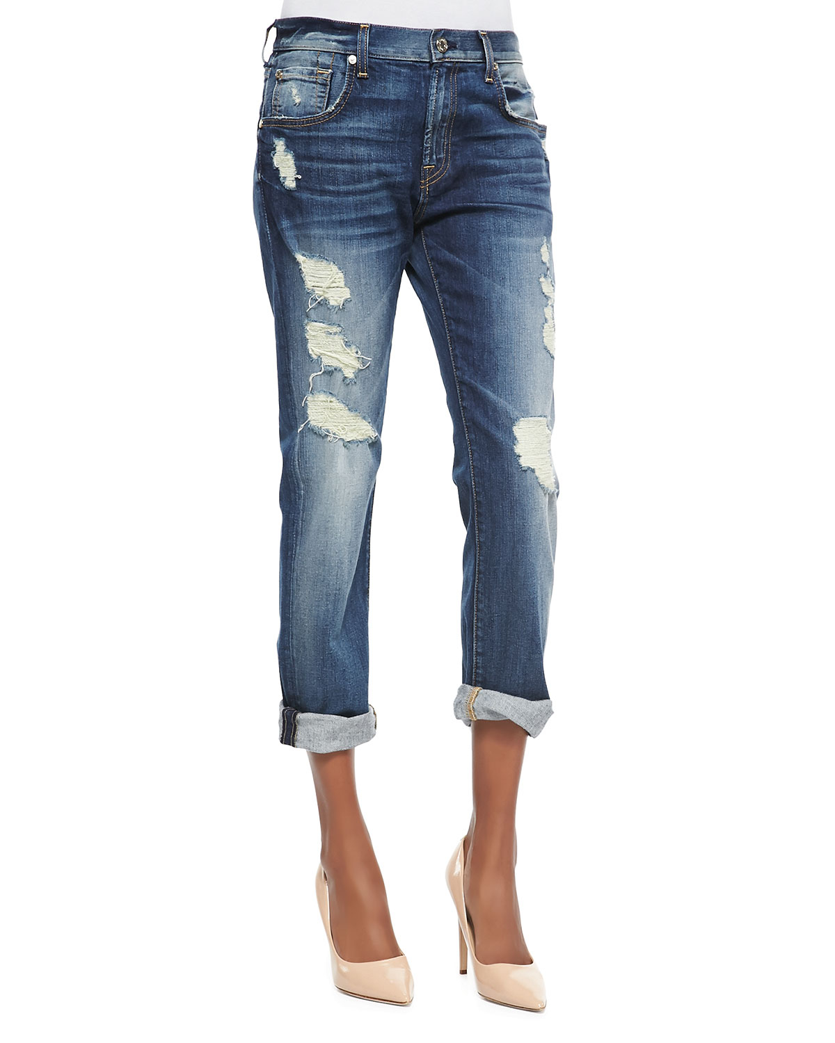7 for all mankind relaxed skinny shredded jeans in blue lyst. Black Bedroom Furniture Sets. Home Design Ideas