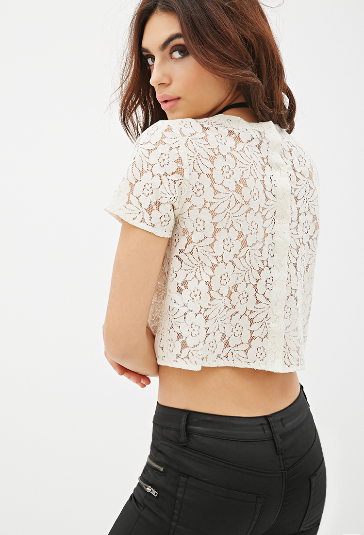601c8a6bd32cf6 Forever 21 Beaded Lace Crop Top in Natural - Lyst