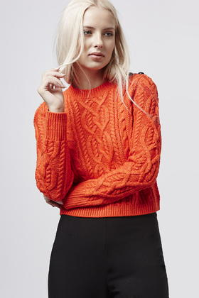8235f8b7227 TOPSHOP Orange Petite Cropped Cable Knit Jumper
