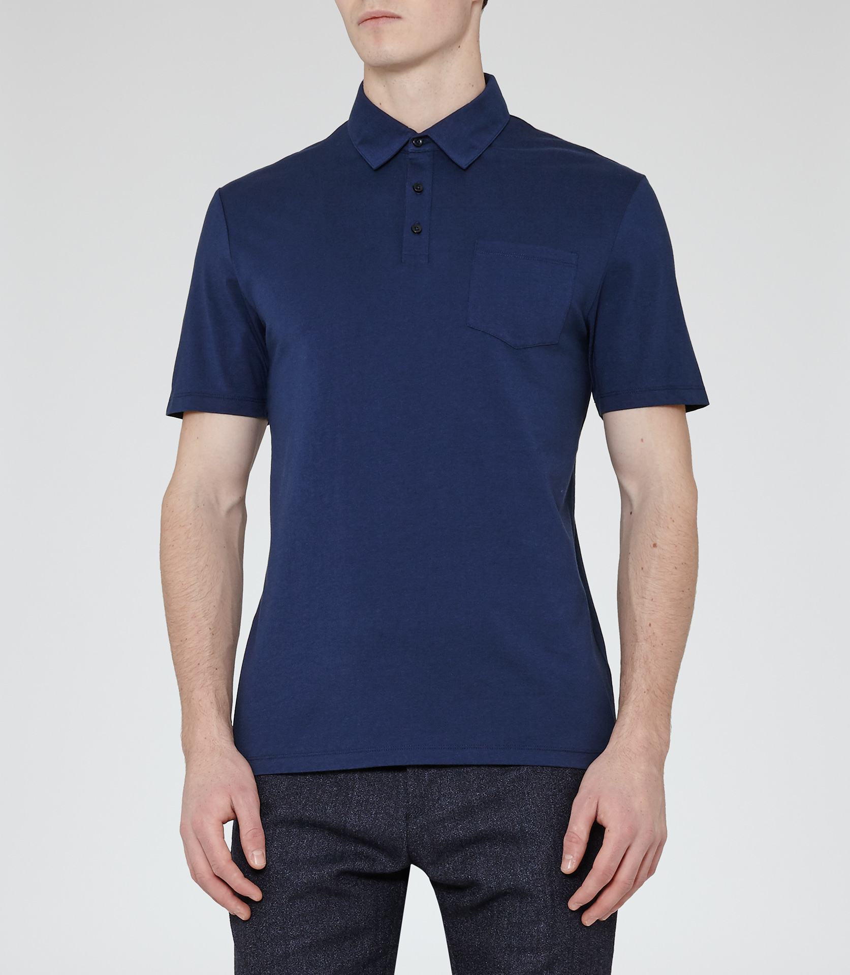 Reiss wilkins patch pocket polo shirt in blue for men lyst for Cobalt blue polo shirt