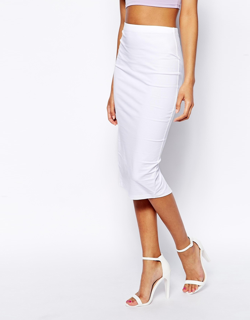 Asos Pencil Skirt In Jersey in White | Lyst