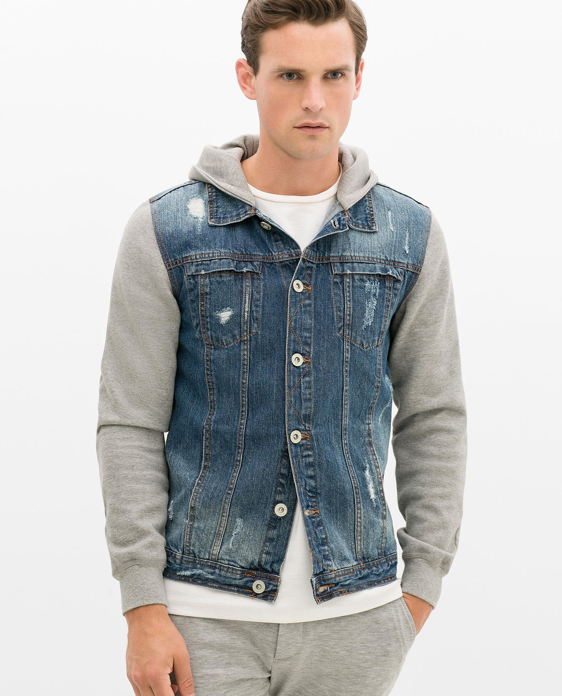 Zara Denim Jacket With Fleece Sleeves in Blue for Men | Lyst