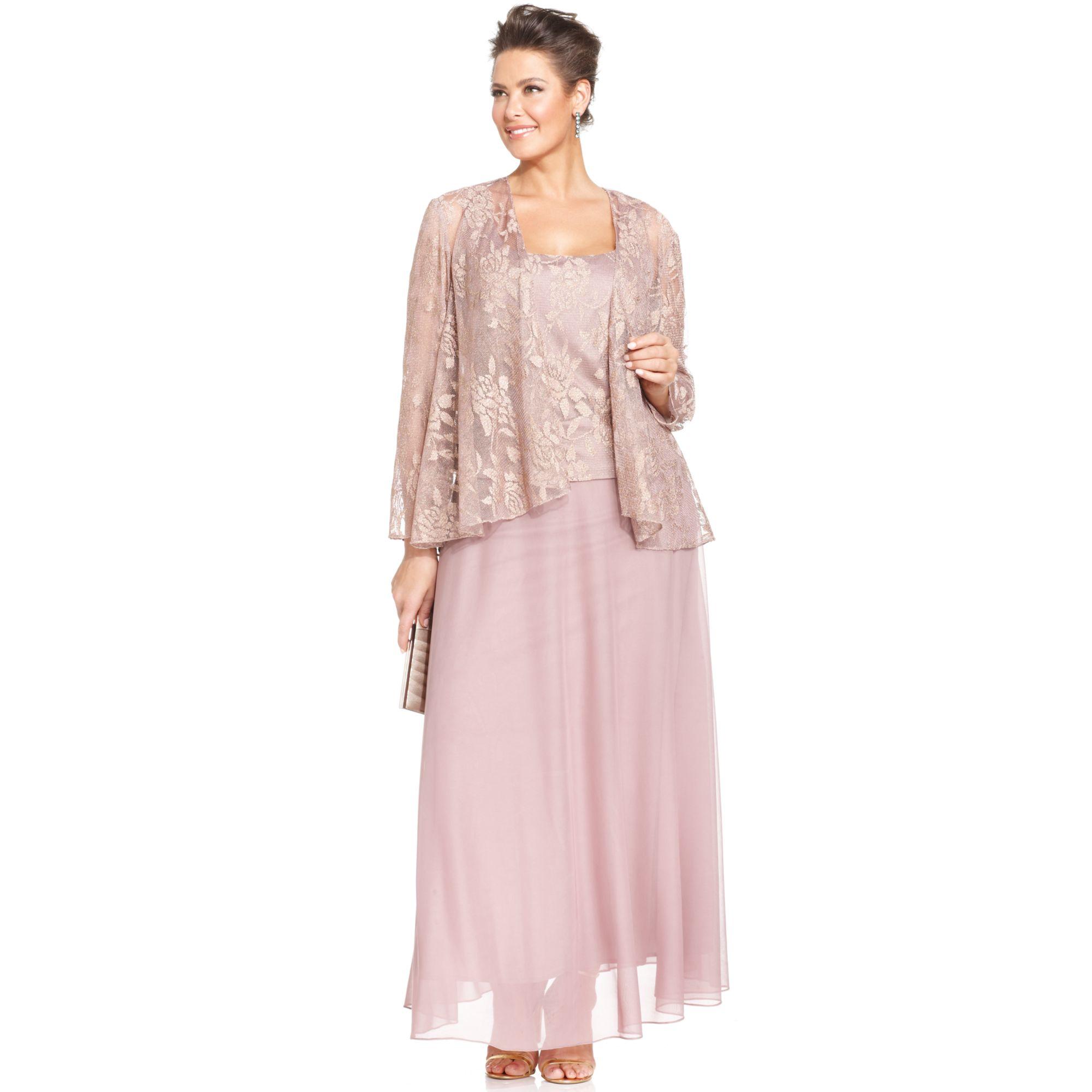 Plus Size Metallic Lace Dress and Jacket