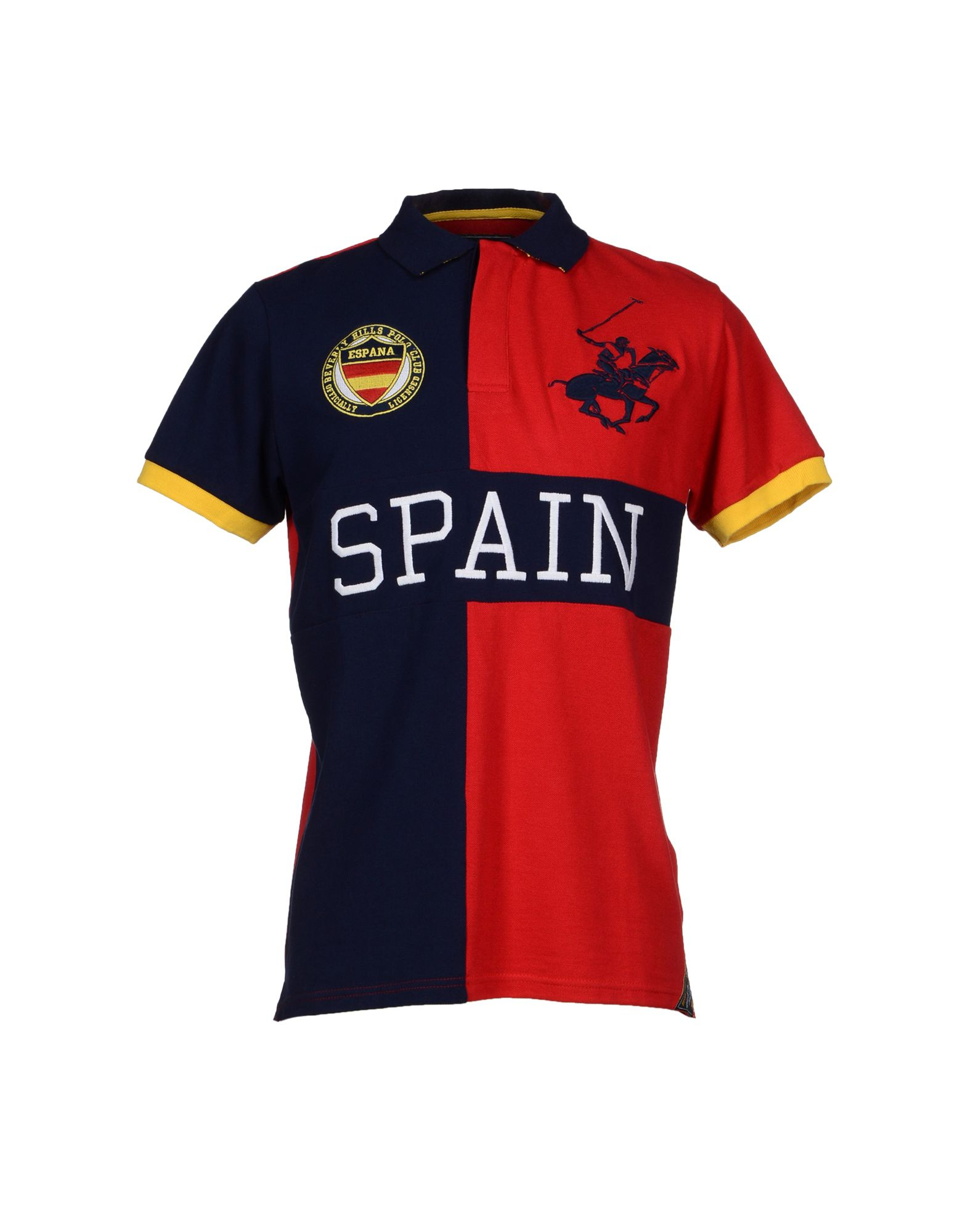 Beverly hills polo club polo shirt in red for men dark for Spain polo shirt 2014