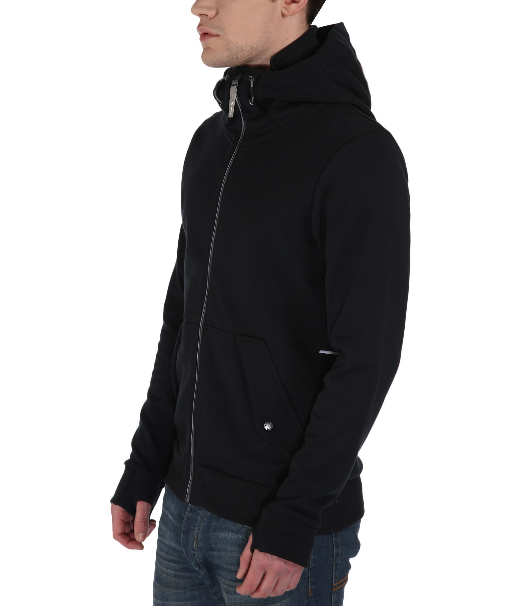 Bench Acidic Plain Zip Thru Hoodie In Black For Men Lyst