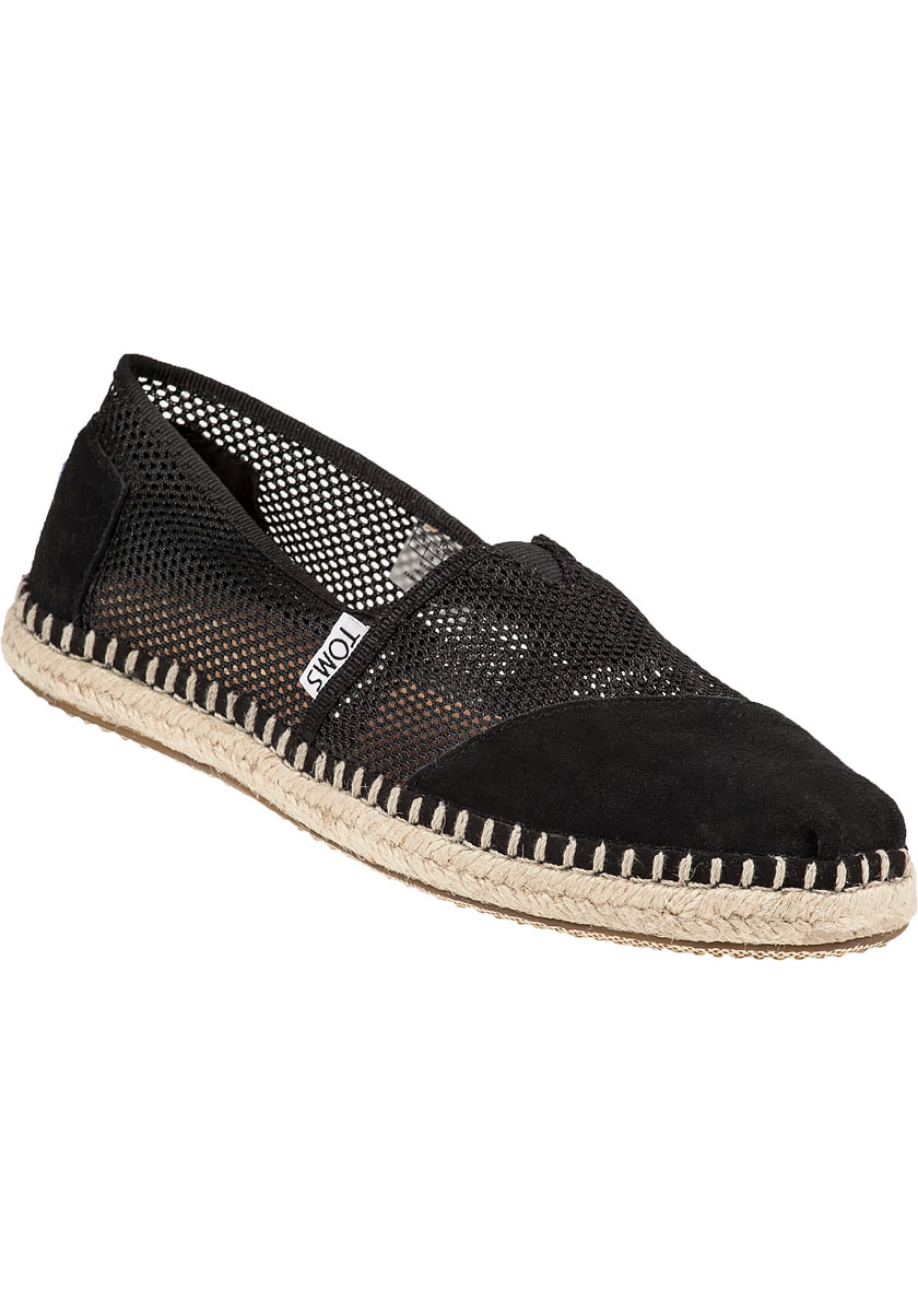 10e99255af5f Lyst - TOMS Classic Mesh and Suede Slip-Ons in Black