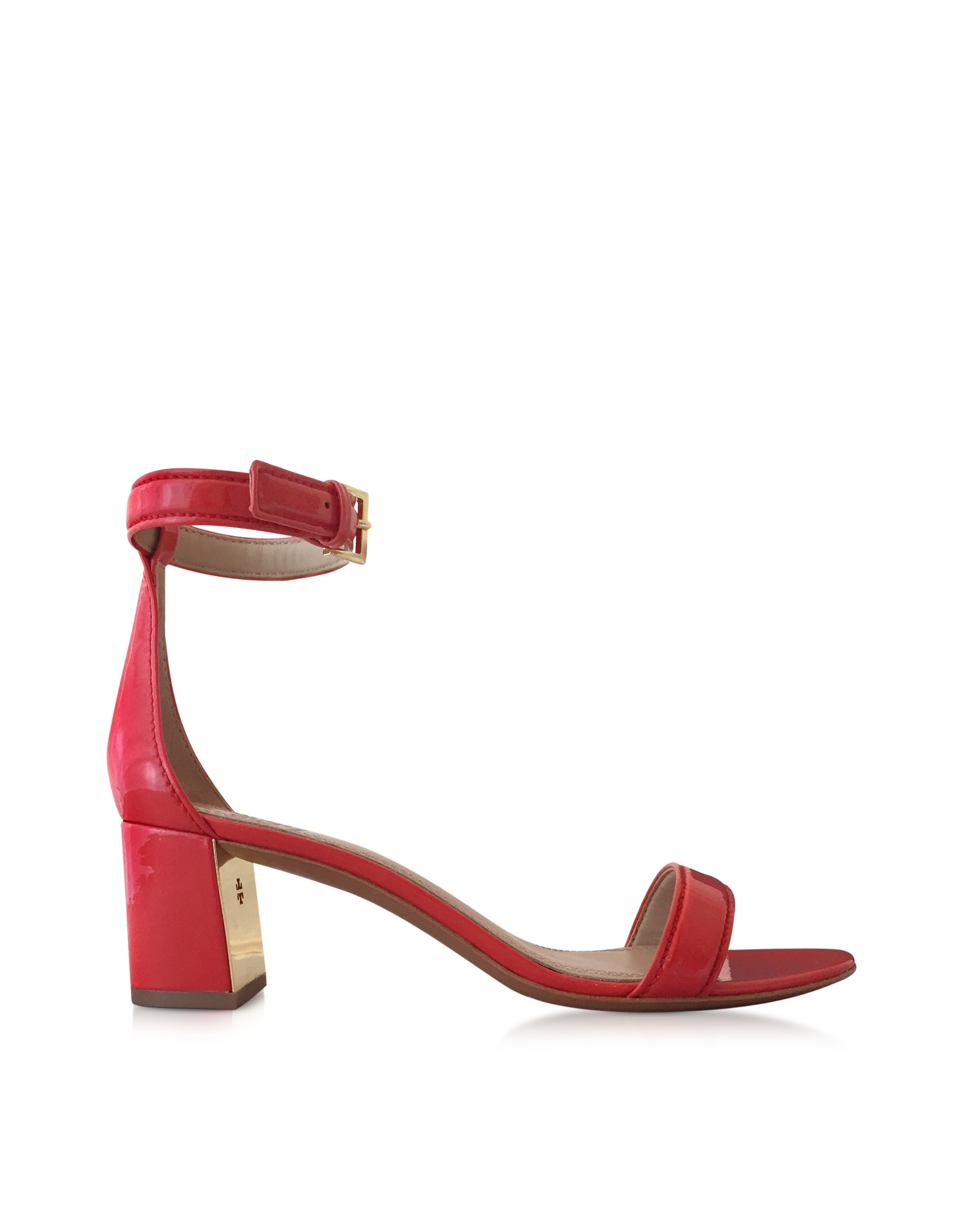 112d6809e Lyst - Tory Burch Cecile Pepper Red Leather Mid Heel Sandal in Red