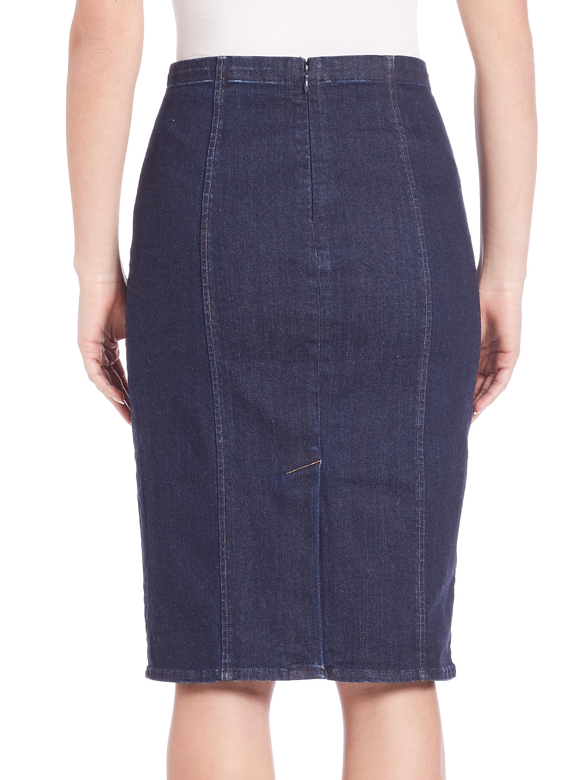 3223784a70 Lyst - Polo Ralph Lauren Denim Pencil Skirt