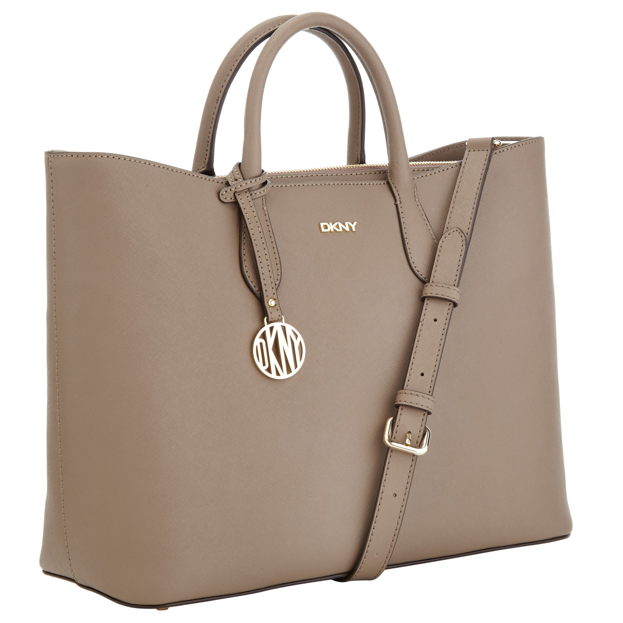 dkny bryant park saffiano top zip tote bag in beige sand lyst. Black Bedroom Furniture Sets. Home Design Ideas