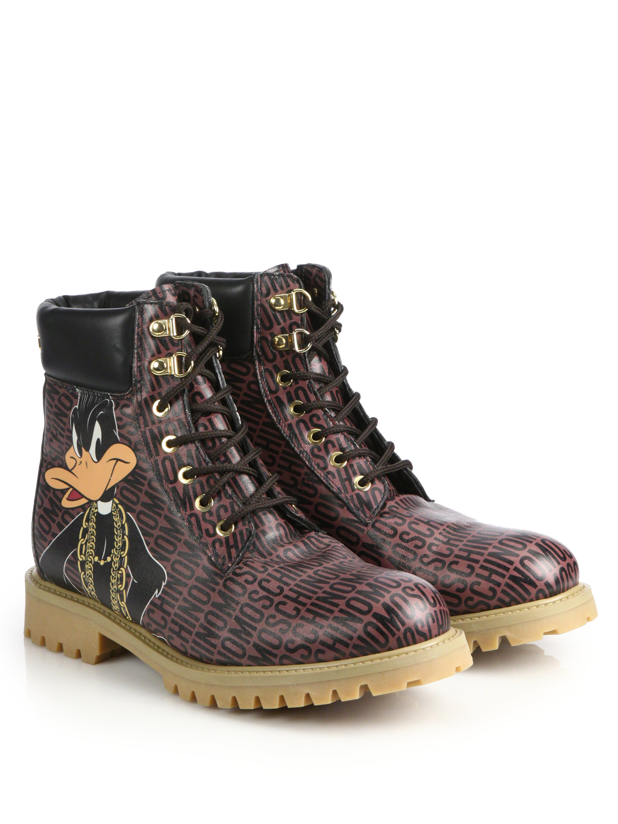 Lyst Moschino Bugs Bunny Combat Boots In Brown