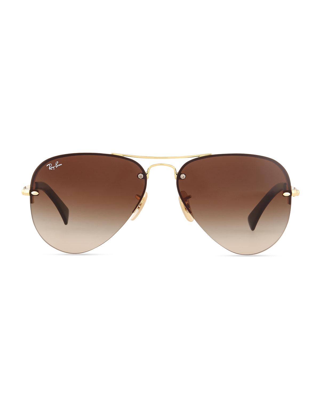 Rimless Aviator Sunglasses : Ray-ban Semi-rimless Aviator Sunglasses in Metallic for ...