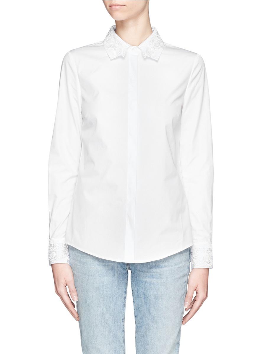 Lyst tory burch murphy appliqu trimmed button down for Tory burch button down shirt
