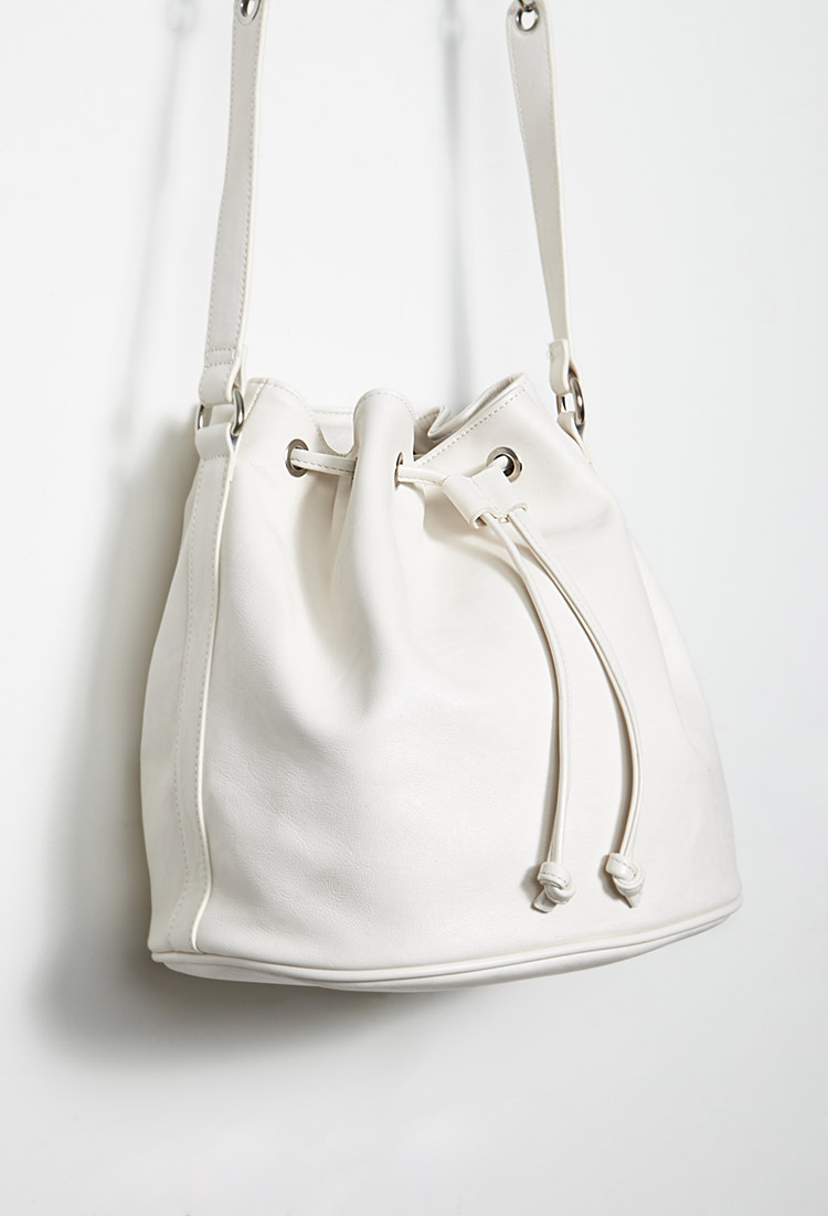 Lyst Forever 21 Faux Leather Drawstring Bucket Bag In White