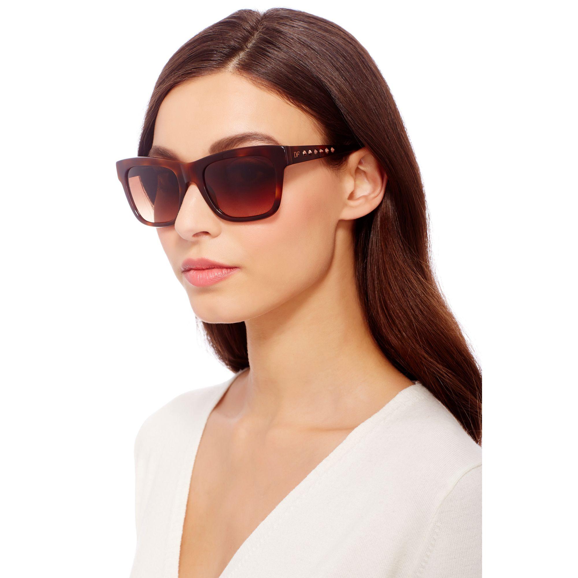 844e32df4 Diane von Furstenberg Leah Studded Sunglasses in Brown - Lyst